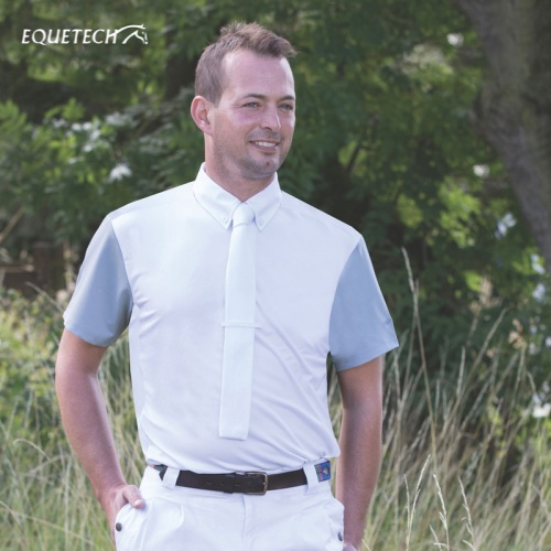 Mens White Waffle Competition Shirt from Equetech