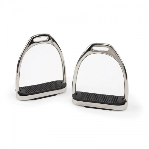 Stainless Steel Stirrup Irons Black Treads from Bridleway