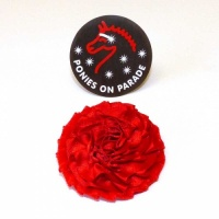 Velvet and Satin Carnation style Buttonhole from Ponies On Parade